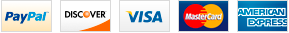 We accept PayPal, Visa, Master Card, Discovery, and American Express